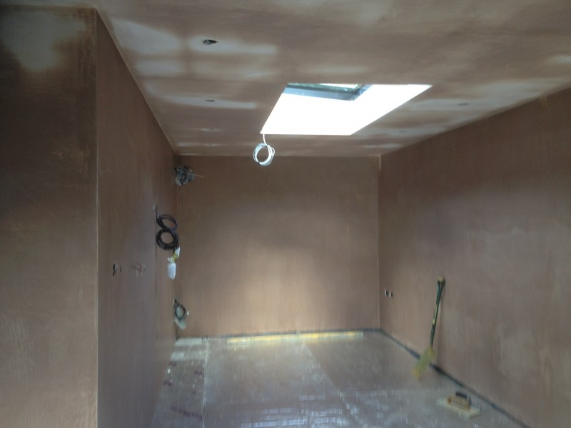 Underfloor insulation laid ready to screed the floor.